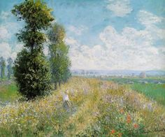 Claude Monet   Meadow with Poplars Painting