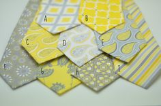Yellow and Gray Neckties, Suspenders, Bow Ties and Ring Pillows for Your Wedding. Print #s 2,4,8,14,15 are SOLD OUT    One Yellow and Gray