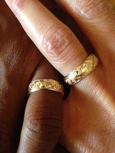 Custom Hawaiian King Scroll Wedding Set for his and hers Hawaiian