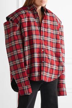 Vetements | Oversized cutout plaid cotton-flannel shirt | NET-A-PORTER.COM