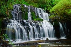 The Purakaunui Falls is a cascading multi-tiered waterfall on the Purakaunui River, located in the Catlins region in Otago in the southern South Island of New Zealand. It is an iconic image for southeastern New Zealand, and were featured on a New Zealand postage stamp in 1976. The Purakaunui Falls is the most photographed falls in New Zealand. This 15m waterfall tumbles in three tiers, giving it a certain grace and character that more than makes up for its lack of height.