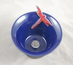 Vase Ikebana Style Bud Vase in Cobalt Blue with Dragonfly by moonstarpottery on Etsy