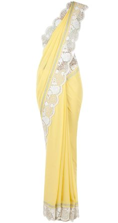 Yellow sari with embroidered blouse available only at Pernia's Pop-Up Shop.