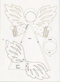 christmas craft ideas: paper angel tutorial - crafts ideas - crafts for kids Angel Crafts, Christmas Crafts, Christmas Decorations, Christmas Ornaments, Christmas Templates, Christmas Printables, Angel Ornaments, Felt Ornaments, Christmas Paper
