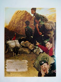 This Norman Rockwell High Adventure print was produced in the early by Brown & Bigelow for the Boy Scouts of Americas Philmont Scout Girl Scouts Of America, Norman Rockwell Art, Eagle Scout, In The Tree, Vintage Comics, Boy Scouts, Adventure, Illustration, Artist