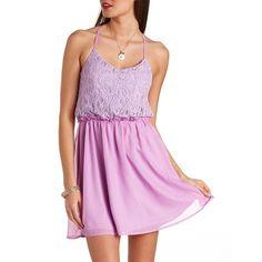 Backless Chiffon & Lace Dress ($27) ❤ liked on Polyvore featuring dresses, purple, sexy pink dress, lace chiffon dress, chiffon dress, pink dress and pink cocktail dress