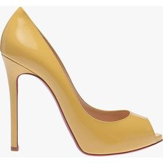 Pre-owned Christian Louboutin Flo Patent Leather Peep Toe ($637) ❤ liked on Polyvore featuring shoes, pumps, heels, yellow, peeptoe pumps, peep-toe pumps, patent leather peep toe pumps, yellow heels pumps and yellow shoes