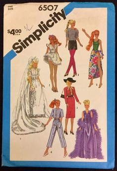 #Vintage #DOLL CLOTHES Sew Pattern #Barbie Brooke Shields #Mademoiselle Eugene 6507  #Simplicity #sew-lutions