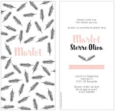 www.hetuilennestje.nl geboortekaartje Marlot: Geboortekaartje, veren, veertjes, roze, romantisch, strak, clean, illustratief, patroon, meisje.