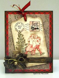 Good idea to use up all the tag paper I have, like the die cut frame and big bow with the thin gold