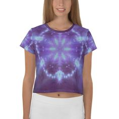Items similar to Mandala Crop Yoga T-shirt on Etsy Crop Tee, Stretch Fabric, Mandala, Tie Dye, Yoga, Knitting, Trending Outfits, Tees, Stretches
