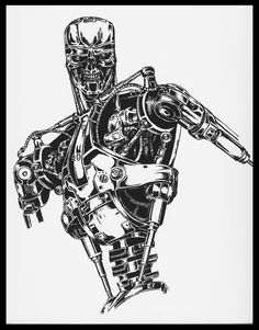 This Terminator is more like a comic kind of terminator and this time I tried a different technique, INK. just ink (although I dont like the ink very . Just Ink, Deviantart, Kobe, Tattoos, Marvel, Comics, Tatuajes, Pictures, Tattoo