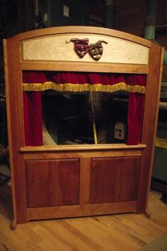 Cherry Frame and Panel Puppet Theater with Intarsia Comedy/Tragedy Masks Puppets Cherry Frame und Pa Shadow Theatre, Toy Theatre, Puppet Show Stage, Comedy Tragedy Masks, Diy Bebe, Finger Puppets, Wood Projects, Gifts For Kids, Playroom