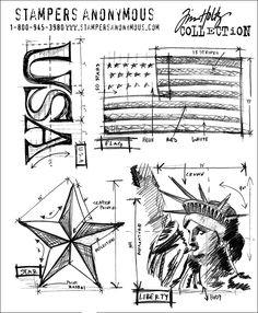 Tim Holtz American Blueprint Stamp Set