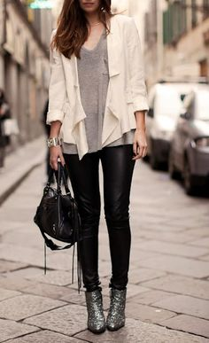 leather pants, glitter boots & simple tops, great look