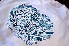 Tričká - I ♥ Slovakia (in blue) - Bohemian Pattern, Doodles, My Love, Sharpies, Red, Handmade, Blue, Ornament, Hand Made