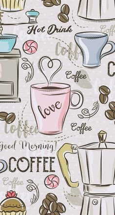 Coffee Love, Coffee Art, Printable Stickers, Printable Paper, Glitter Background, Girly Pictures, Decoupage Paper, Cute Wallpapers, Iphone Wallpapers