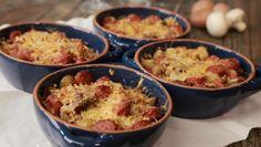 Gratinado de Salsichas Frescas, Batatas e Cogumelos - Prato do Dia 2 | 24Kitchen