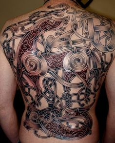 Amazing Red Tribal Design for Viking Tattoo