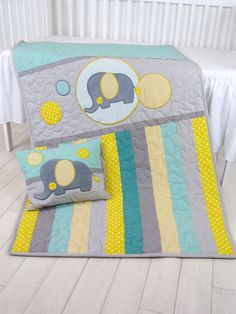 Baby Blanket, Teal Gray Crib Quilt, Elephant Bedding for Baby Boy, Handmade Quilting by Customquiltsbyeva on Etsy