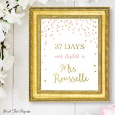 Bridal Shower Countdown Sign  Pink and Gold by PrintThatPaperie