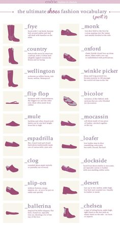 different shoe styles infographic