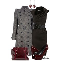 """""""BURBERRY LONDON Trench Coat - Burgundy"""" by stay-at-home-mom on Polyvore"""