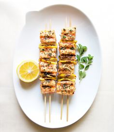 Spiced Salmon Kebabs - 390 calories