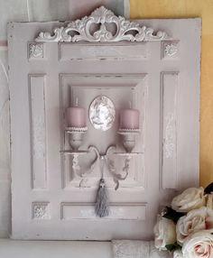 RESERVE - Applique bougeoir mural lin et blanc colombe style Shabby chic : Luminaires par les-intemporels