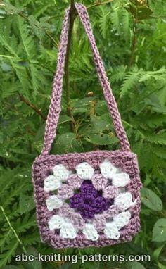 ABC Knitting Patterns - American Girl Doll Granny Square Bag