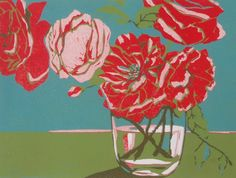 Wild Roses original linocut print handmade by Lisa by LisaVanMeter, $65.00