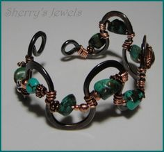 The Wave Cuff Series - #4,5,6 - Turquoise Stones and Copper Bracelet