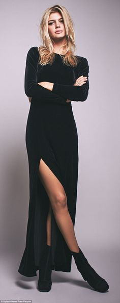 Kelly gives her black velvet dress a tougher twist with a pair of square toed ankle boots...