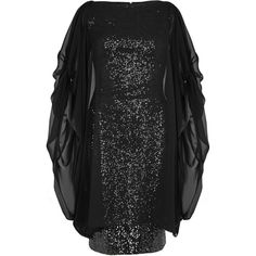 Talbot Runhof Black Cape-effect Sequinned Dress - Size 12 (40 165 UAH) ❤ liked on Polyvore featuring dresses, talbot runhof, talbot runhof dresses, sequined dresses, sequin cocktail dresses and overlay dress