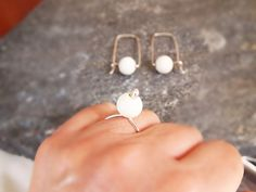 Minimalist Ring and Hoop Earrings with White Stone, Sterling Silver & Natural Gemstone Jewelry Set