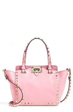 4e3b8d2a37e97 Valentino Women's Micro Mini Rockstud Leather Tote Pink One | Bag