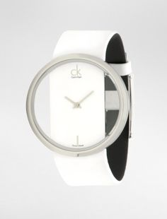 ck glam white leather watch - Watches- Calvin Klein