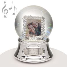 "Musical Water Globe - Anniversary Photo - Anniversaries are meant to be celebrated! This water globe features a frame inside the snowglobe for a picture of the happy couple. A gift that will be treasured for years to come! This snow globe plays the song ""Endless Love."" One Year Anniversary, Anniversary Photos, Water Globes, Snow Globes, Cute Diys, Diy Christmas Gifts, Couple Pictures, Plays, Musicals"