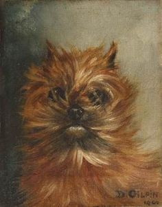 Oil on canvas of a Griffon Bruxellois by D Gilpin: