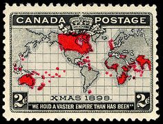 2c Map of British Empire on Mercator Map single, Canada, 1898. The 1st Christmas and 2 color stamp.