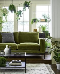 House of Fraser - Inspiration and Ideas - Explore the best Autumn home trends we love this season, from jewel tones to scandi designs. Olive Living Rooms, Living Room Green, Green Rooms, New Living Room, Living Room Sofa, Living Room Trends, Living Room Inspiration, Green Couch Decor, Olive Green Couches