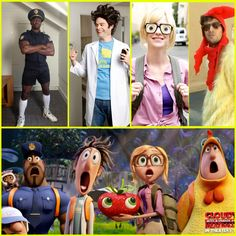 The Cast of Cloudy With A Chance of Meatballs 2, dressed as their characters. Love this!