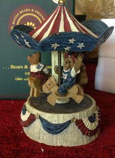 Patriotic Carousel Boyds Bears, Teddy Bears, Baby Flower Headbands, Christmas Hair, Music Boxes, Carousels, Feather Headband, Love Bear, Resins
