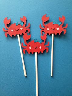 Girly Crab Cupcake Toppers girls and hayden swim party
