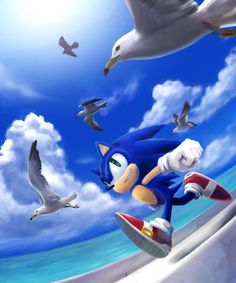 Sonic and some Seagulls hahaha