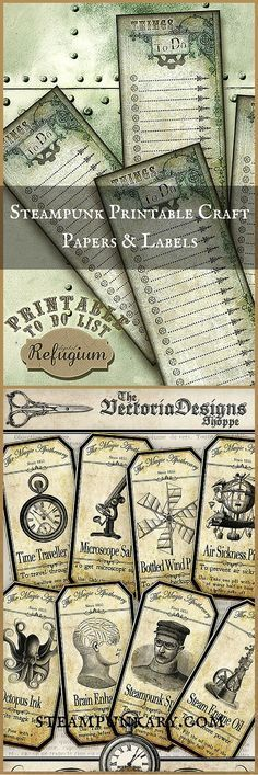 Steampunk Printable Craft Papers and Labels halloween printouts printables Steampunk Crafts, Steampunk Design, Steampunk Fashion, Steampunk Patterns, Steampunk Clothing, Printable Crafts, Printables, Steampunk Accessoires, Steampunk Cosplay