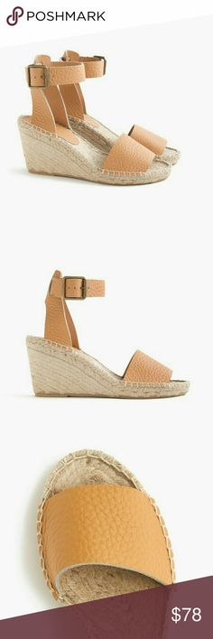 NWT J. Crew Corsica espadrilles, Dusty Cypress NWT, never worn!  J. Crew Corsica tumbled leather espadrilles wedges in Dusty Cypress.  Warm, rich neutral that will go with anything!  Size 10.  Completely sold out online!  I'll add more photos of the actual shoes later :) J. Crew Shoes Espadrilles
