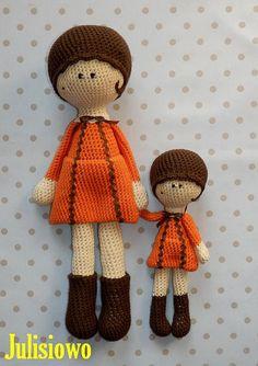 Tola and Lola crochet dolls 2 PDF patterns от JulioToys на Etsy