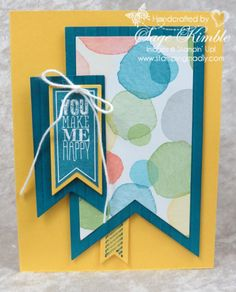 Finally, Stampin' Up! has come out with a set of Banners Framelits that's to die for!  It's one of the products offered in the new spring Occasions Catalog. You've probably noticed that I love using notched banners on my cards. Here's one example -- click on the image to see even more. www.stampingmadly.com