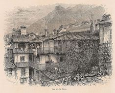 Inn at La Torre, print from an old copy of 'Picturesque Europe' dating to the late Vintage Prints, Retro Vintage, Alps, Art Decor, 19th Century, Dating, Europe, Italy, Antiques